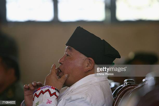 Zahkung Ting Ying leader of the New Democratic ArmyKachin attends the Kachin State Special Region 1 People's Conference on March 20 2006 in Panwa...