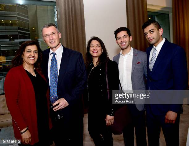 Zahra Jafri Greg Johnston Shabana Rizvi Guest and Shahid Jafri attend Launch Of New Entity Withers Global Advisors at 432 Park Avenue on April 3 2018...
