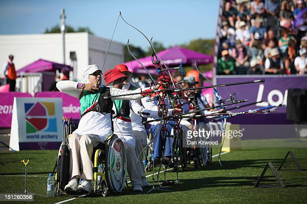 Zahra Javanmard of the Islamic Republic of Iran competes in the Women's Team Recurve Open qualifying round on day 7 of the London 2012 Paralympic...
