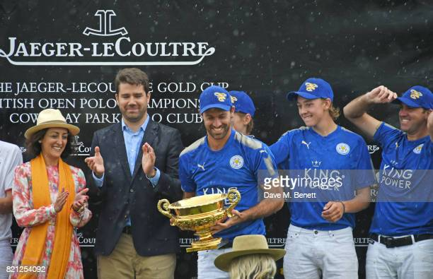 Zahra KassimLakha and Geoffroy Lefebvre present Facundo Pieres Hugo Taylor Jimbo Fewster and Gonzalito Pieres of King Power Foxes with the Gold Cup...