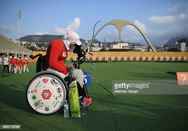 Zahra Nemati of Islamic Republic of Iran in action during a training session at the Sambodromo Olympic Archery venue on August 2 2016 in Rio de...