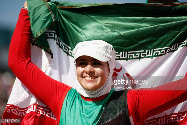 Zahra Nemati of the Islamic Republic of Iran celebrates winning her Women's Individual Recurve W2 class Gold medal match against Elisabetta Mijno of...
