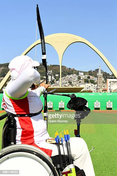 Zahra Nemati of the Islamic Republic of Iran competes during the Women's Ranking Round on Day 0 of the Rio 2016 Olympic Games at the Sambodromo...