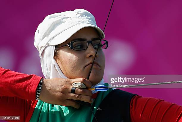 Zahra Nemati of the Islamic Republic of Iran competes in her Women's Individual Recurve W2 class Gold medal match against Elisabetta Mijno of Italy...