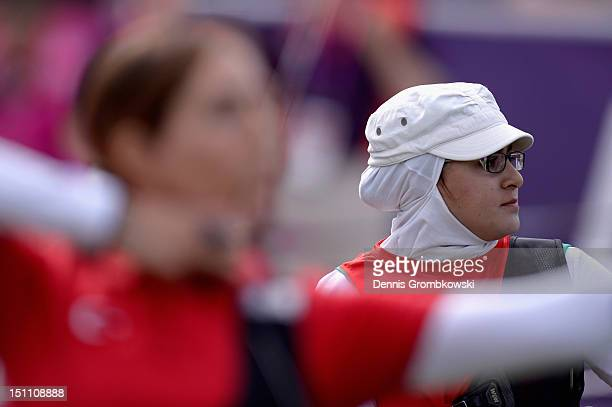 Zahra Nemati of the Islamic Republic of Iran looks on during the Women's Individual Recurve W1/W2 quarterfinals on day 3 of the London 2012...
