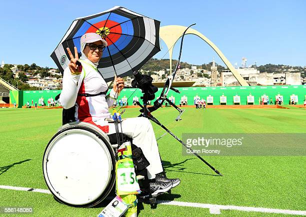 Zahra Nemati of the Islamic Republic of Iran poses for a photo during the Women's Ranking Round on Day 0 of the Rio 2016 Olympic Games at the...