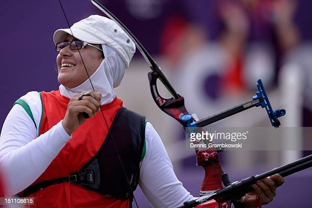 Zahra Nemati of the Islamic Republic of Iran reacts during the Women's Individual Recurve W1/W2 quarterfinals on day 3 of the London 2012 Paralympic...