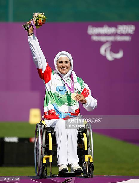 Zahra Nemati of the Islamic Republic of Iran receives her Gold medal after winning the Women's Individual Recurve W2 category on day 6 of the London...