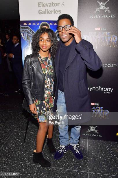Zahra Savannah Rock and comedian Chris Rock attend the screening of Marvel Studios' 'Black Panther' hosted by The Cinema Society on February 13 2018...