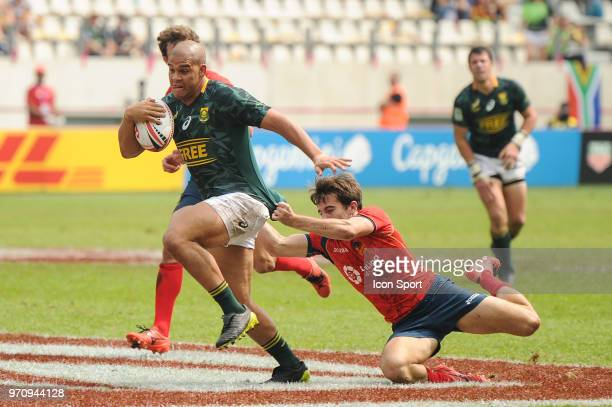 Zain Davids of South Africa during the match between South Africa and Spain at the HSBC Paris Sevens stage of the Rugby Sevens World Series at Stade...