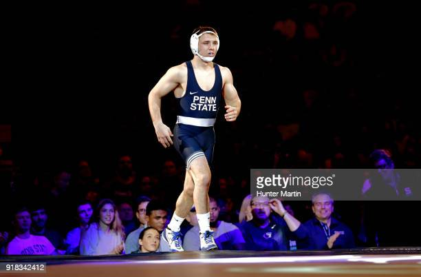 Zain Retherford of the Penn State Nittany Lions runs onto the mat before his match against Brandon Sorensen of the Iowa Hawkeyes on February 10 2018...