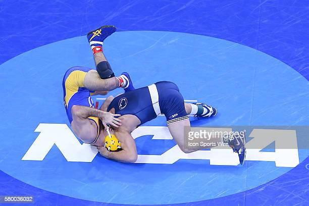Zain Retherford Penn State University 149lbs wrestles Coleman Hammond California State University Bakersfield 149lbs during the first day of the 2016...