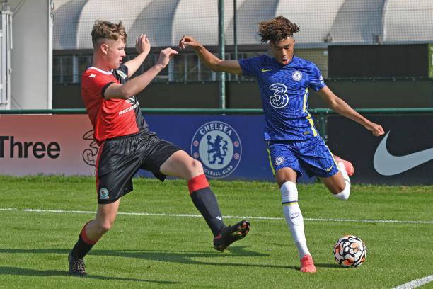 Zain Silcott-Durberry of Chelsea crosses the ball during the Chelsea v Blackburn Rovers U18 Premier League Cup Group D on September 18, 2021 in...