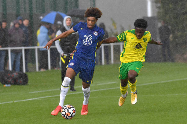 Zain Silcott-Durberry of Chelsea runs down the wing during the Norwich City v Chelsea U18 Premier League match at the Lotus Training Ground on August...