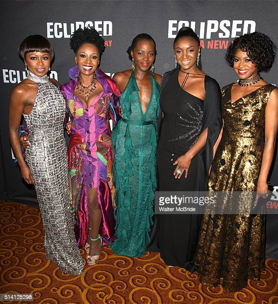 Zainab Jah Akosua Busia Lupita Nyong'o Saycon Sengbloh and Pascale Armand attend the 'Eclipsed' broadway opening night after party at Gotham Hall on...