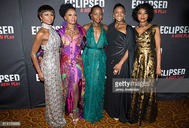 Zainab Jah Akosua Busia Lupita Nyong'o Saycon Sengbloh and Pascale Armand attend Eclipsed Broadway Opening Night party at Gotham Hall on March 6 2016...