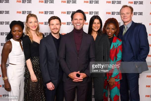 Zainab Jah Anastaia Griffith Joe Dempsie Walton Goggins Karina McAdams Lily Banda and Alistair Petrie attend the season 2 launch of Deep State at The...