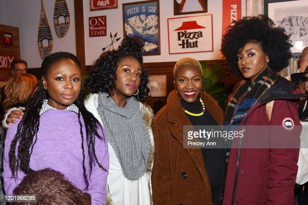 Zainab Jah Nana Mensah and Jayme Lawson of 'Farewell Amor' attend the Pizza Hut x Legion M Lounge during Sundance Film Festival on January 25 2020 in...