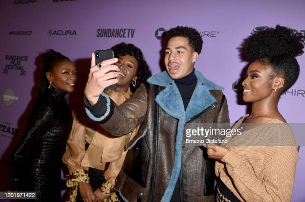 Zainab Jah Nana Mensah Nana Mensah Marcus Scribner and Jayme Lawson attend the 2020 Sundance Film Festival Farewell Amor Premiere at Library Center...