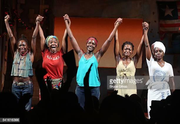 "Zainab Jah, Saycon Sengbloh, Lupita Nyong'o, Pascale Armand and Akosua Busia take their closing night curtain call for ""Eclipsed"" on Broadway at The..."