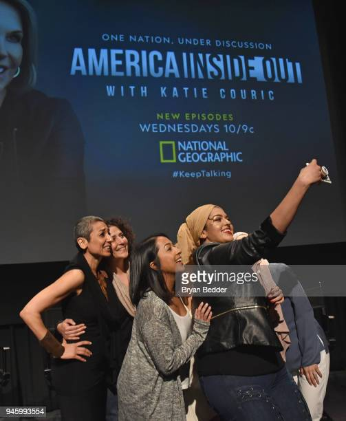 Zainab Salbi Amber Fares Sana Amanat and Amani AlKhatahtbeh attend National Geographic's special screening of AMERICA INSIDE OUT WITH KATIE COURIC in...