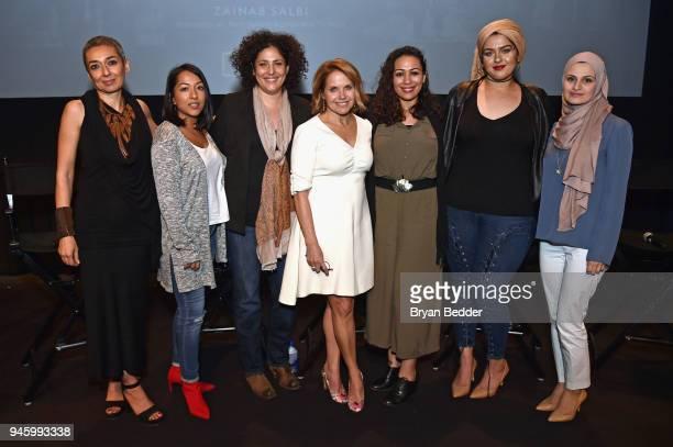 Zainab Salbi Sana Amanat Amber Fares Katie Couric Hoda Hawa Amani AlKhatahtbeh and Suzanne Barakat attend National Geographic's special screening of...