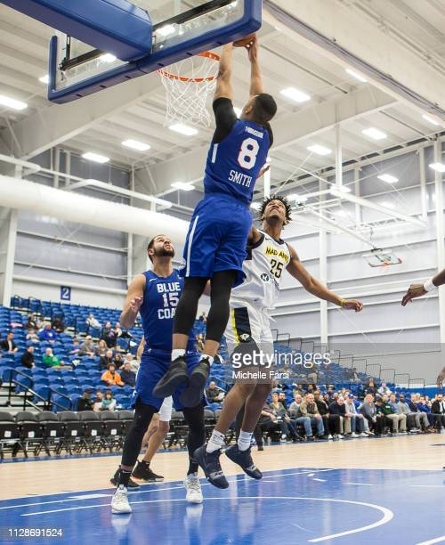 Zaire Smith of the Delaware Blue Coats dunks against the Fort Wayne Mad Ants during an NBA GLeague game on March 4 2019 at 76ers Fieldhouse in...