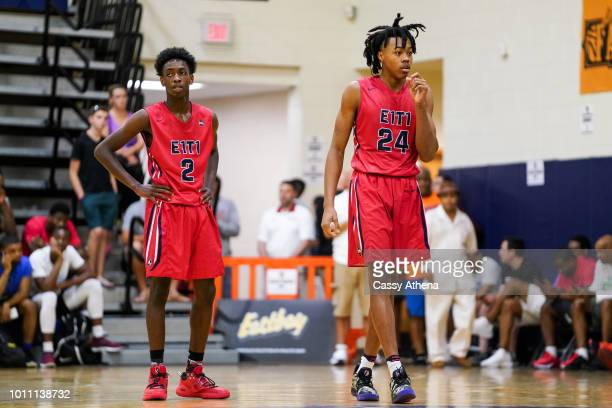 Zaire Wade and Scottie Barnes of Team Each 1 Teach 1 look on at the Fab 48 tournament at Bishop Gorman High School on July 26 2018 in Las Vegas Nevada