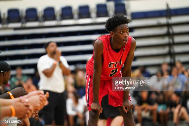 Zaire Wade of Team Each 1 Teach 1 looks on at the Fab 48 tournament at Bishop Gorman High School on July 26 2018 in Las Vegas Nevada