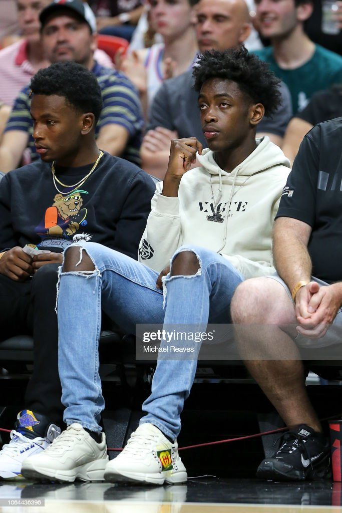 Zaire Wade, son of Dwyane Wade of the Miami Heat, looks on from