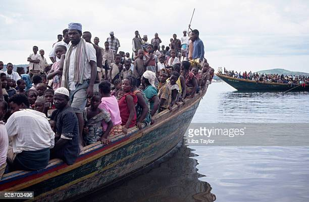 Zairean Refugees Arriving by Boat at Kigoma in Tanzania