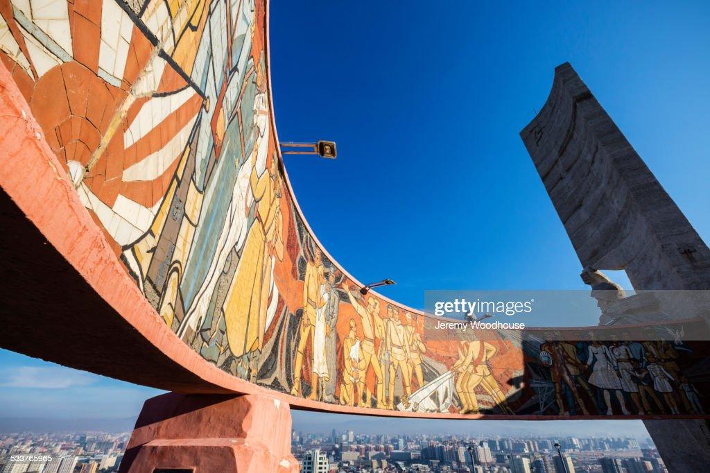 Zaisan Memorial mural painted on monument, Ulaanbaatar, Mongolia : Foto stock