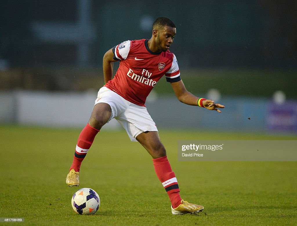Zak Ansah of Arsenal in action during the match between Bolton Wanderers U21 and Arsenal U21 in the Barclays Premier U21 League on March 31, 2014 in Lancaster, England.