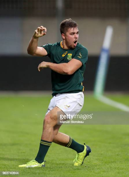 Zak Burger of South Africa celebrates scoring a try during the U20 World Championship match between South Africa and Georgia on May 30 2018 in...