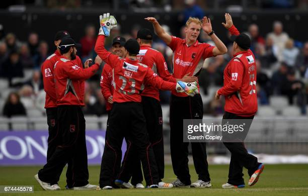 Zak Chappell of Leicestershire celebrates with teammates after dismissing Liam Livingstone of Lancashire during the Royal London OneDay Cup match...
