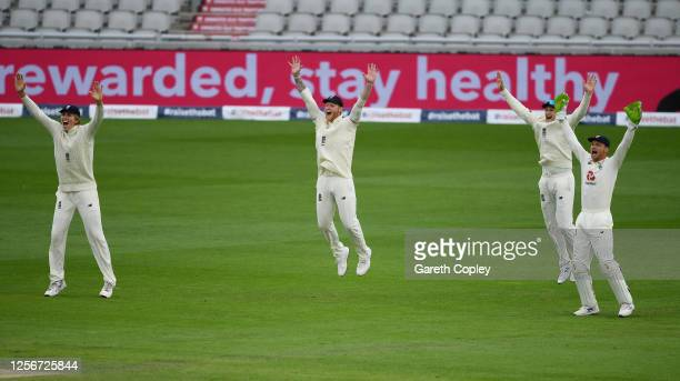 Zak Crawley, Ben Stokes, Joe Root and Jos Buttler of England appeal unsuccessfully for a wicket during Day Two of the 2nd Test Match in the...