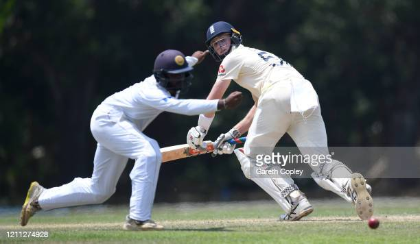 Zak Crawley of England bats during day three of the tour match between SLC Board President's XI and England at Chilaw Marians Cricket Club Ground on...