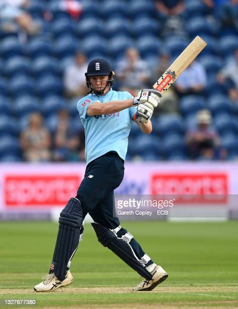 Zak Crawley of England bats during the 1st Royal London Series One Day International match between England and Pakistan at Sophia Gardens on July 08,...