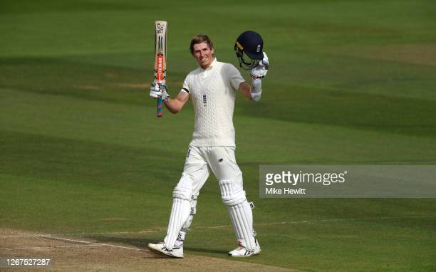 Zak Crawley of England celebrates reaching his century during Day One of the 3rd #RaiseTheBat Test Match between England and Pakistan at the Ageas...