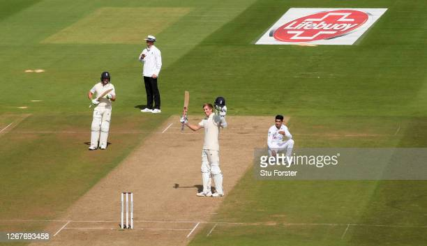 Zak Crawley of England celebrates reaching his Double Century as Naseem Shah of Pakistan reacts during Day Two of the 3rd #RaiseTheBat Test Match...