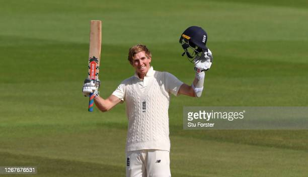 Zak Crawley of England celebrates reaching his Double Century during Day Two of the 3rd #RaiseTheBat Test Match between England and Pakistan at the...