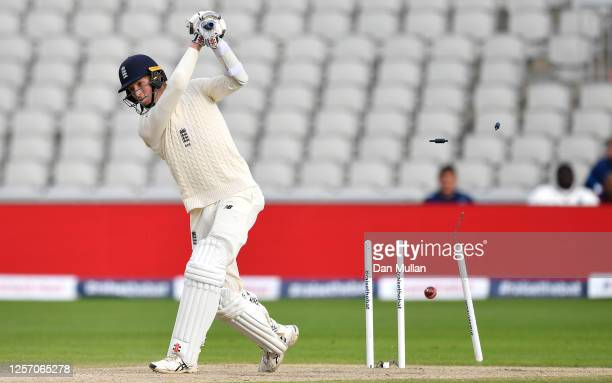 Zak Crawley of England is bowled by Kemar Roach of West Indies during Day Four of the 2nd Test Match in the #RaiseTheBat Series between England and...