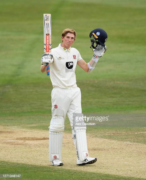 Zak Crawley of Kent celebrates reaching his century during Day 3 of the Bob Willis Trophy match between Kent and Hampshire at The Spitfire Ground on...