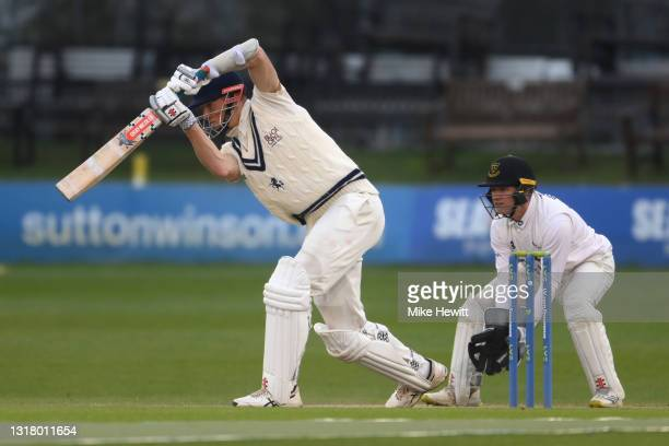 Zak Crawley of Kent drives on his way to 50 on Day 2 of the LV= Insurance County Championship match between Sussex and Kent at The 1st Central County...