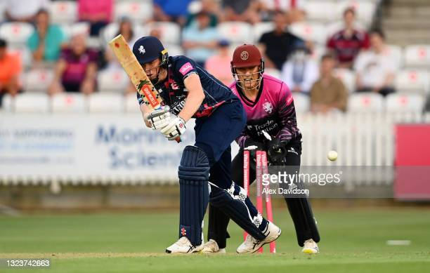 Zak Crawley of Kent is bowled by Max Waller of Somerset during the Vitality Blast T20 match between Somerset and Kent at The Cooper Associates County...