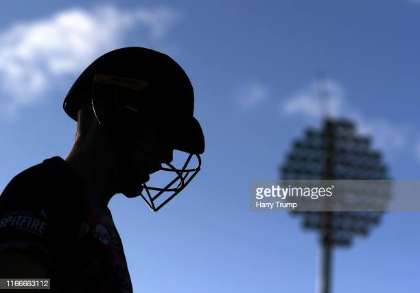 Zak Crawley of Kent makes his way out to bat during the Vitality Blast match between Gloucestershire and Kent Spitfires at Bristol County Ground on...