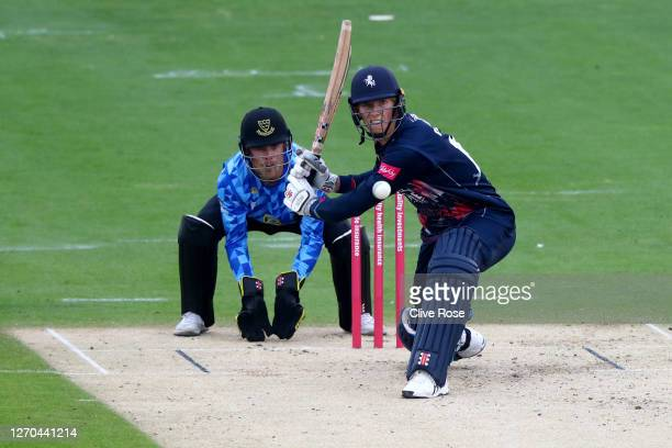 Zak Crawley of Kent Spitfires in action during the T20 Vitality Blast match between Sussex Sharks and Kent Spitfires at The 1st Central County Ground...