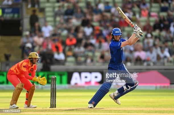 Zak Crawley of London Spirit bats watched by Birmingham Phoenix wicketkeeper Chris Cooke during The Hundred match between Birmingham Phoenix and...
