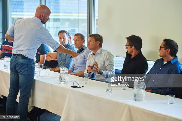 Zak Egholm journalist and commentator of Eurosport speaks to Johan Lange technical director of FC Copenhagen during the Danish Alka Superliga media...