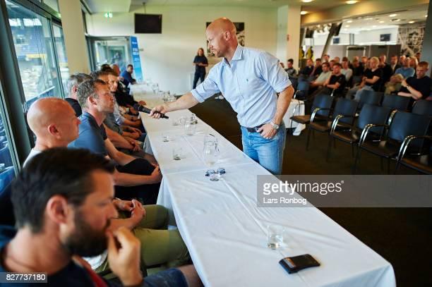 Zak Egholm journalist and commentator of Eurosport speaks to Morten Wieghorst head coach of AaB Aalborg during the Danish Alka Superliga media event...